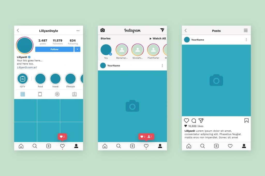 Interfaccia utente di Instagram: le Stories appaiono in alto.