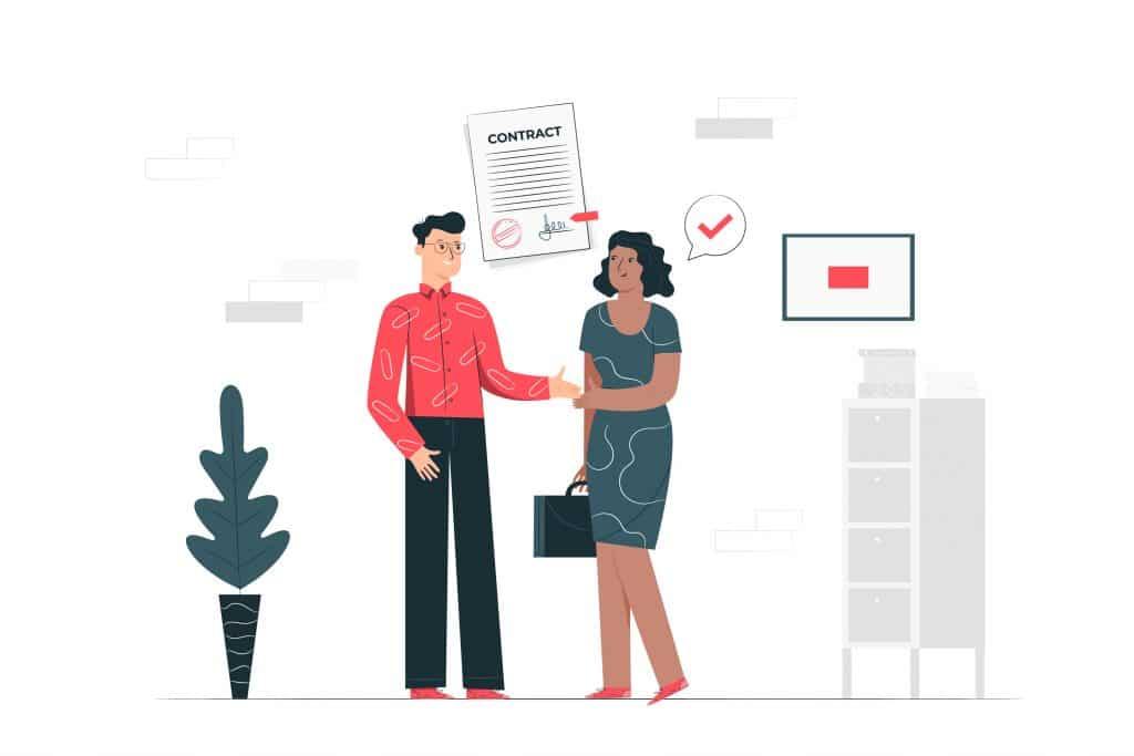 Uomo e donna che stanno per concludere un accordo di affari.