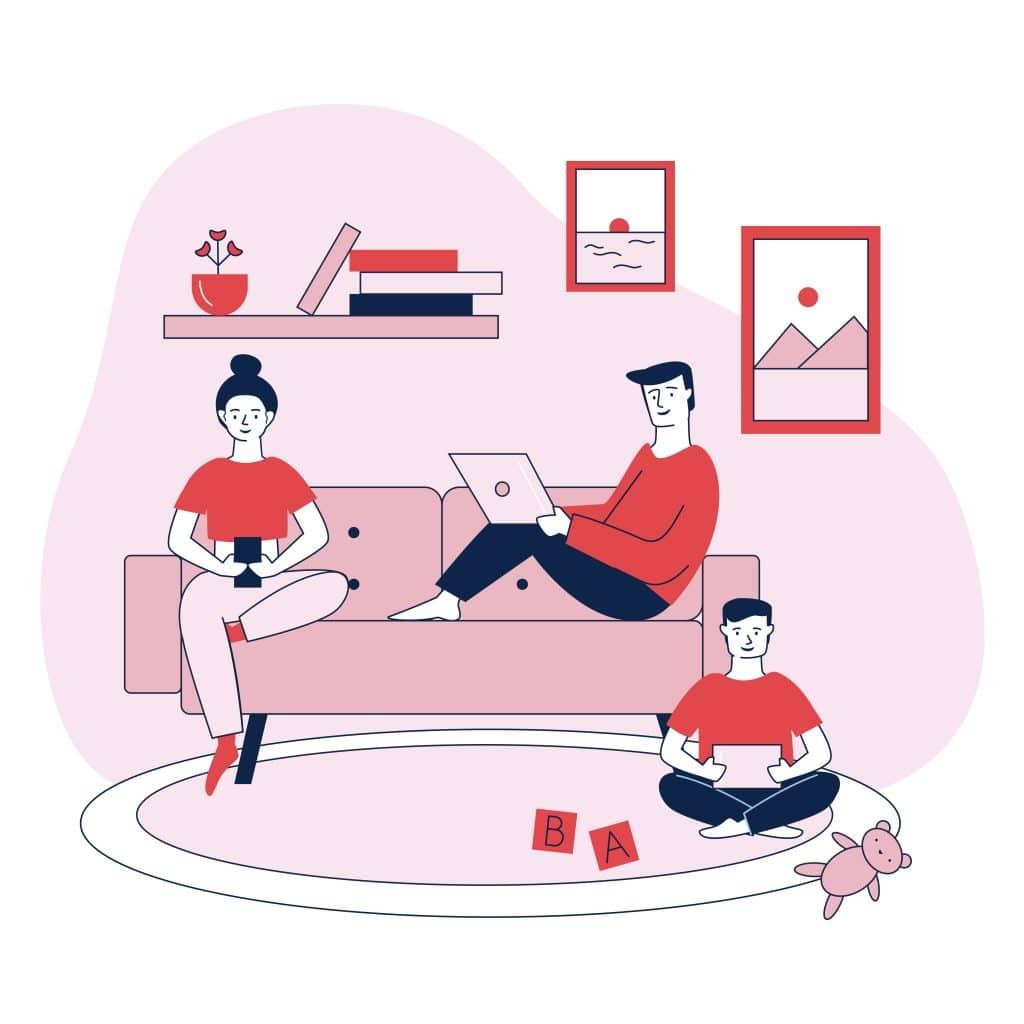 Famiglia che usa diversi strumenti digitali: padre con pc, madre con smartphone, figlio con tablet. Saranno esposti a diverse pubblicità invece che alla solita.