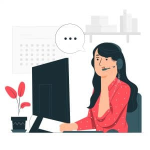 cartoon di ragazza al pc con microfono mentre parla e fa customer care
