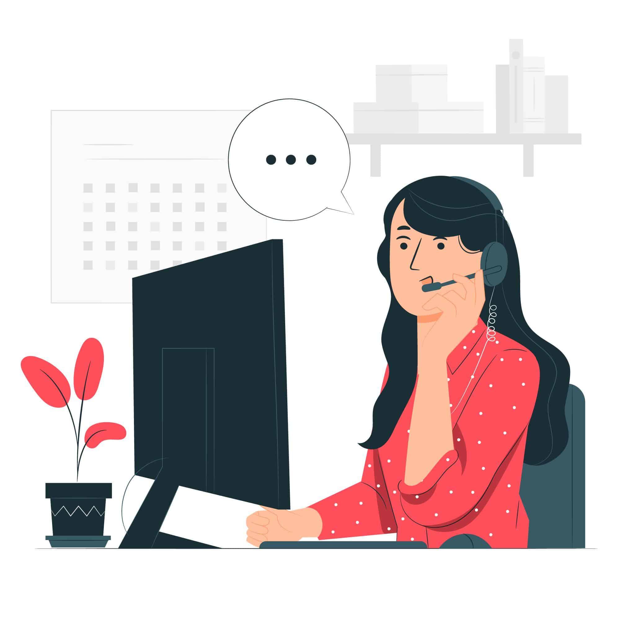 cartoon di ragazza al pc con microfono mentre parla e fa customer care