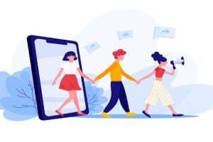 allegoria di marketing con tre giovani, uno smartphone e altoparlante
