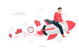 cartoon con businessman su razzo che rappresenta l'aumento delle vendite con tattiche di marketing